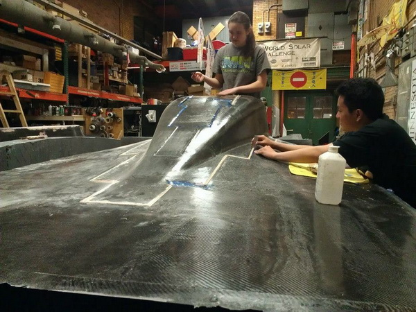 University of Minnesota Students working on the Solar Powered Car constructed with Dyplast ISO-C1